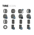 flat tire icons set vector image