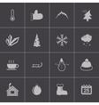 black winter icons set vector image vector image