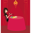 beautiful Asian girl enjoy sushi in restaurant vector image