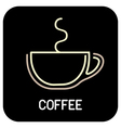 coffee - icon isolated outline on black background vector image vector image