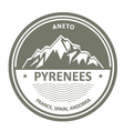 Pyrenees Mountains - Snowbound Aneto peak round vector image
