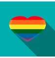 Rainbow heart icon in flat style vector image