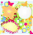 Abstract grunge flower theme with circles and vector image
