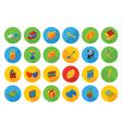 isometric flat icon set vector image