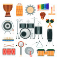 percussion musical instruments in flat vector image