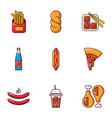 unhealthy food icons set flat style vector image
