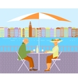 Grandparents in Street Cafe vector image