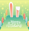 big easter rabbit ears easter eggs and drawn text vector image