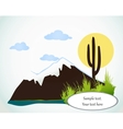 Cactus saguaro And Mountains card vector image