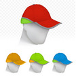 safety cap in neon colors on mannequin head vector image