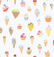 Ice cream seamless pattern funny design vector image