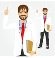 male hipster doctor pointing up vector image