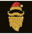 Santa beard in golden style with sparkles Design vector image