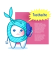 Tooth character with ice bag vector image