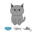 Cute gray cartoon cat Mustache whisker Bowl fish vector image