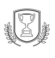 Isolated trophy inside label design vector image