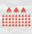 set of cute fruit smiley watermelon emoticons vector image vector image