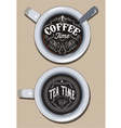 set of cups for coffee and tea with ornament vector image