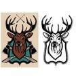 heraldic animals deer color and monochrome vector image