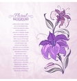 Abstract background with blooming lilies vector image