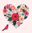 Beautiful floral heart and blue bird vector image