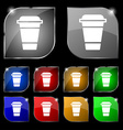 coffee icon sign Set of ten colorful buttons with vector image