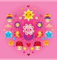 cute cartoon mushrooms flowers hearts and birds vector image