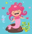 Cute Little Mermaid and seahorse vector image