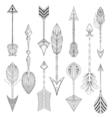 ethnic Arrows set in zentangle designconcept Hand vector image
