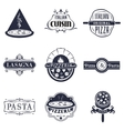Retro italian cuisine restaurant labels logos and vector image