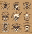 set of pirate emblems on grunge background vector image