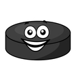 Smiling cartoon hockey puck vector image
