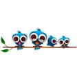 cute blue bird family vector image vector image