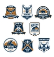 Hunting sport club icons and emblems vector image vector image