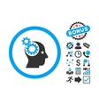 Intellect Gears Flat Icon with Bonus vector image