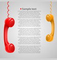 hanging colored handsets vector image
