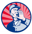 worker shouting hand on mouth retro vector image vector image