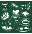 Breakfast icon set with various products drawn on vector image