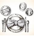 Festive table setting vector image