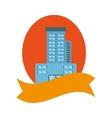 real estate building emblem ribbon vector image