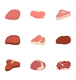 Beef icons set cartoon style vector image vector image