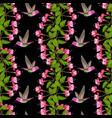 fuchsia and hummingbird seamless pattern vector image