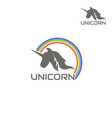 logo unicorn is surrounded by a rainbow vector image