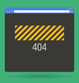 flat browser window with 404 page vector image vector image