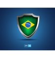 Brazil flag shield on the blue background vector image