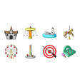 amusement park icons in set collection for design vector image