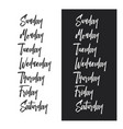 days of the week typography set vintage vector image