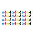 drop CMYK numbers and alphabet icon set vector image