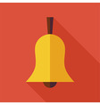 Flat Ringing Bell with long Shadow vector image
