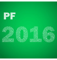 green happy new year pf 2016 from little vector image
